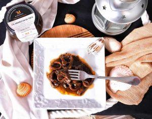 Calamares en su tinta, comida para la oficina, comida para niños, comida natural